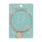 Live A Happy Life - Rose Gold Bangle