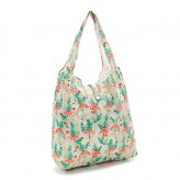 Eco Chic Beige Flamingo Shopper Bag