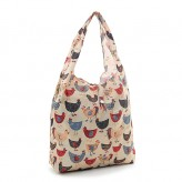 Eco Chic Beige Chickens Shopper Bag