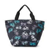 Eco Chic Black Bikes Lunch Bag