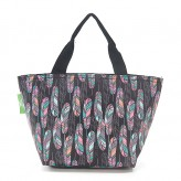 Eco Chic Black Feather Lunch Bag