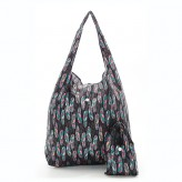 Eco Chic Black Feathers Shopper Bag