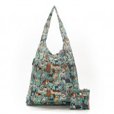 Eco Chic Teal Dogs Shopper Bag