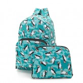 Eco Chic Teal Puffin Backpack