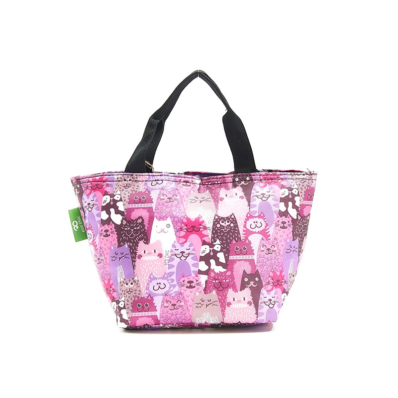 Eco Chic Purple Stacking Cats Lunch Bag
