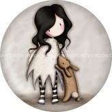 294GJ09 ButtonMagnet Love Rabbit-Gorjuss