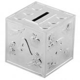 Silver Money Box Cube ABC Bambino 6291