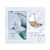 White Frame 4x6 We Love You To The  Moon