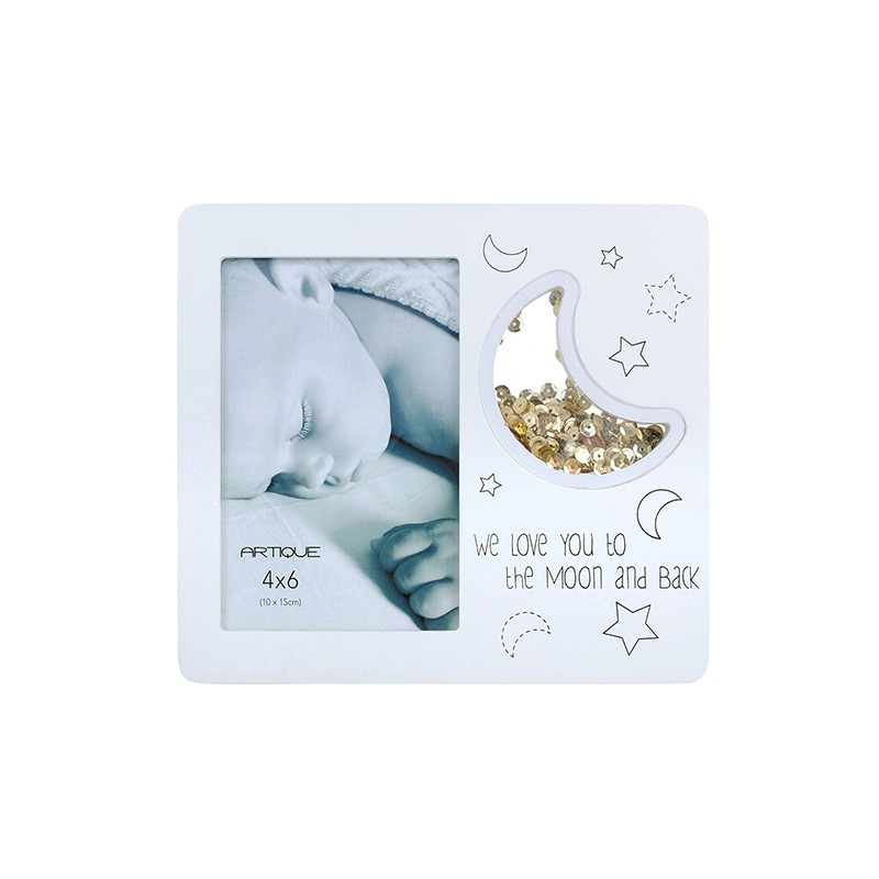 White Frame 4x6 We Love You To The Moon - Artique